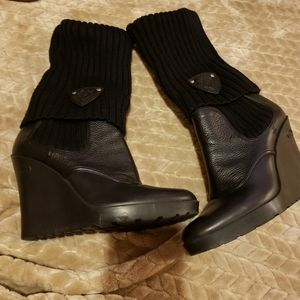 Gucci Leather & Cashmere Sock Rubber Wedge Boot 39